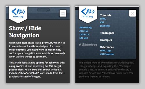 Show / Hide Navigation   HTML Dog